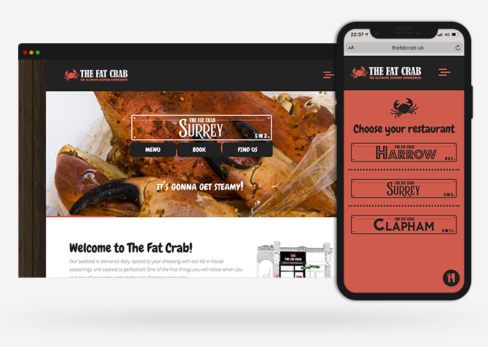 The fat crab web design and branding